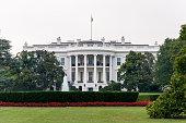 Rear view of the White House at Washington DC, USA.