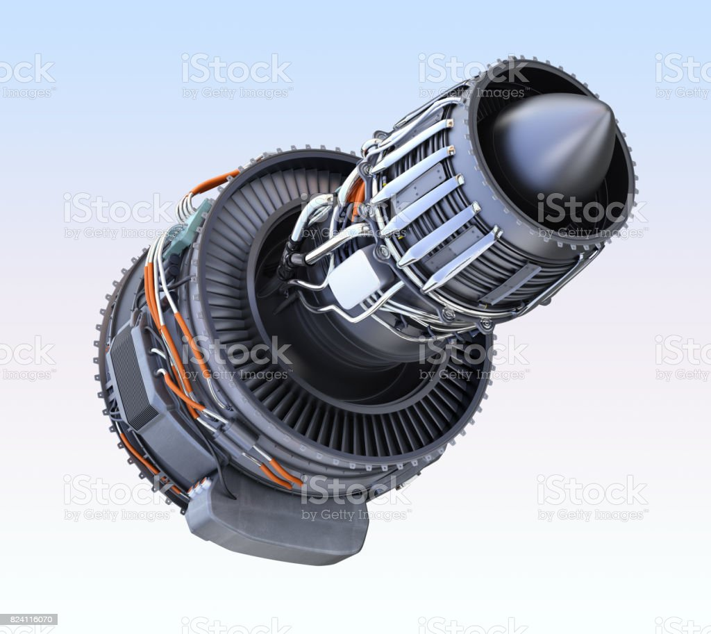 Rear view of turbofan jet engine isolated on white background stock photo