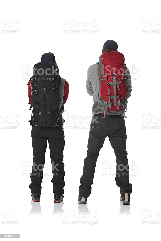 Rear view of two hikers royalty-free stock photo