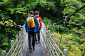 Rear view of two men crossing a suspension bridge while hiking in a forest