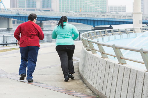 Rear View Of Two Overweight People Jogging Stock Photo - Download Image Now