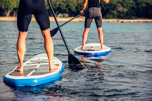 Rear view of two paddle boarder's legs