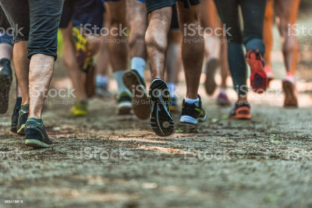 Rear view of unrecognizable athletes running a marathon in nature. royalty-free stock photo