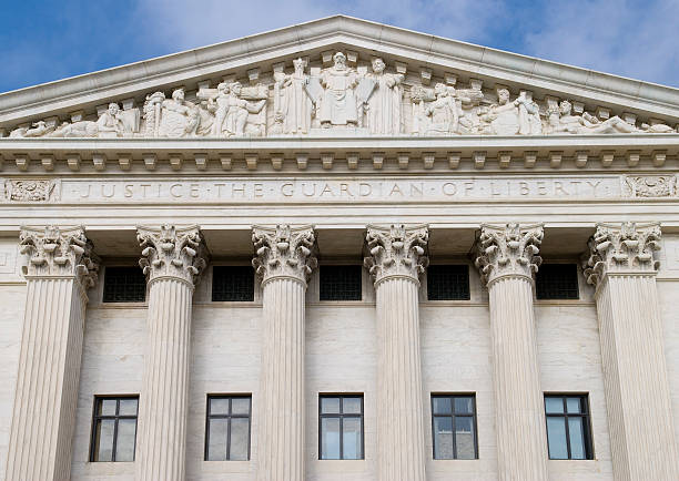 Rear View of US Supreme Court stock photo