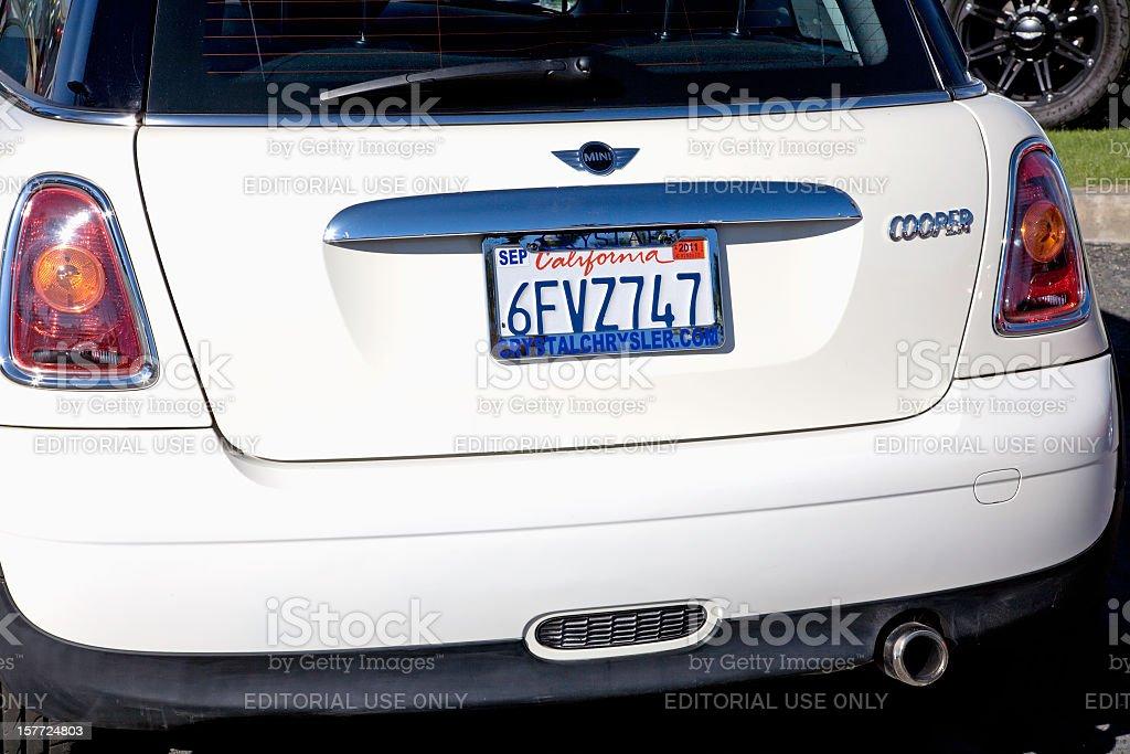 Rear View Of White Mini Cooper Automobile stock photo