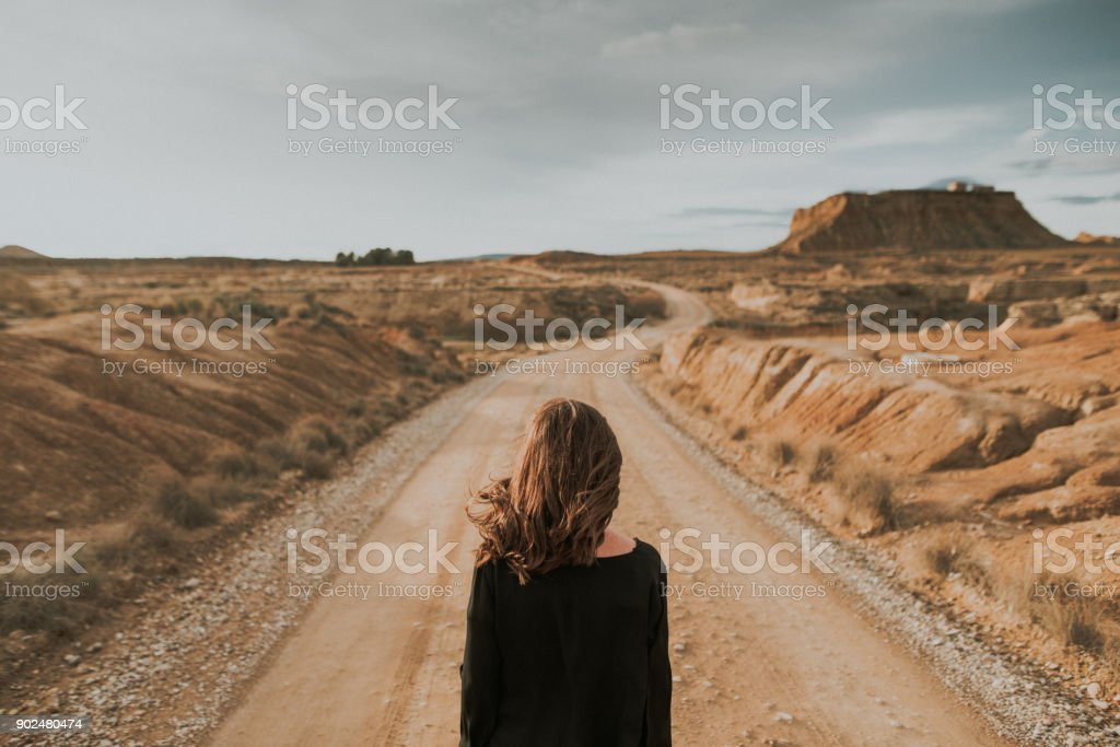 Rear view of woman at desert road - foto stock