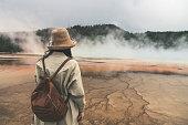 Rear View of Woman at Yellowstone
