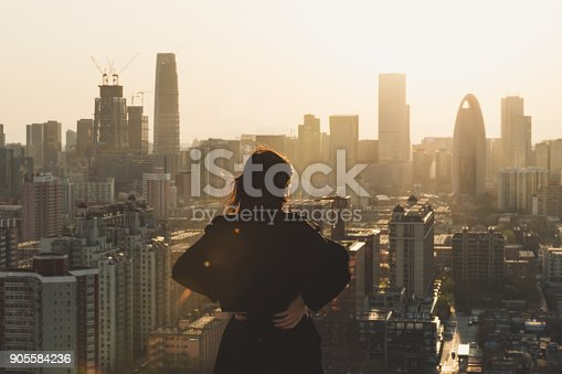 istock Rear view of Woman looking at city in Sunlight 905584236