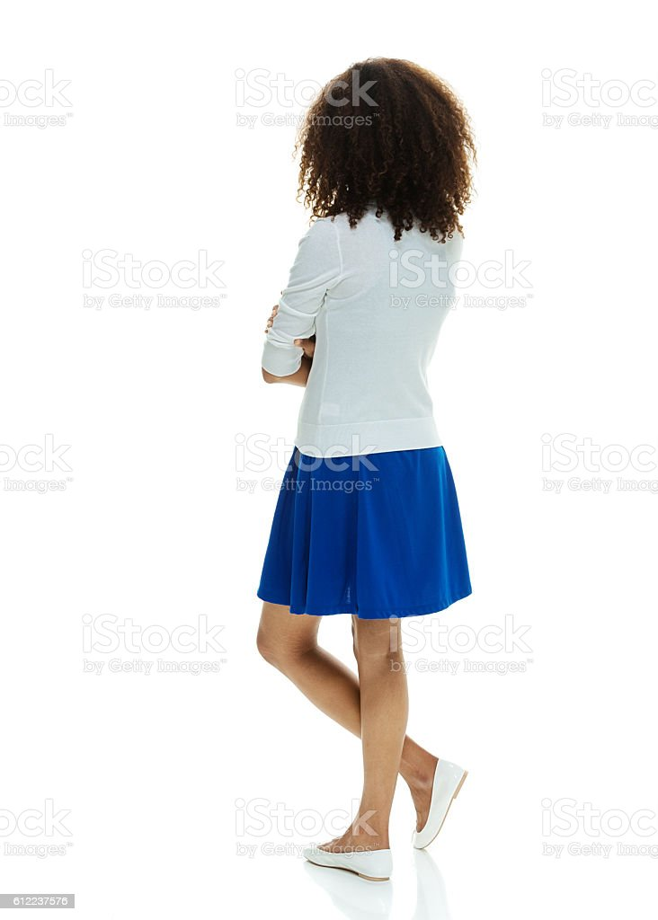 Rear view of woman standing stock photo
