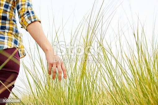 Midsection of woman in casuals walking though meadow. Rear view of female touching long grass. She is walking on field against clear sky.