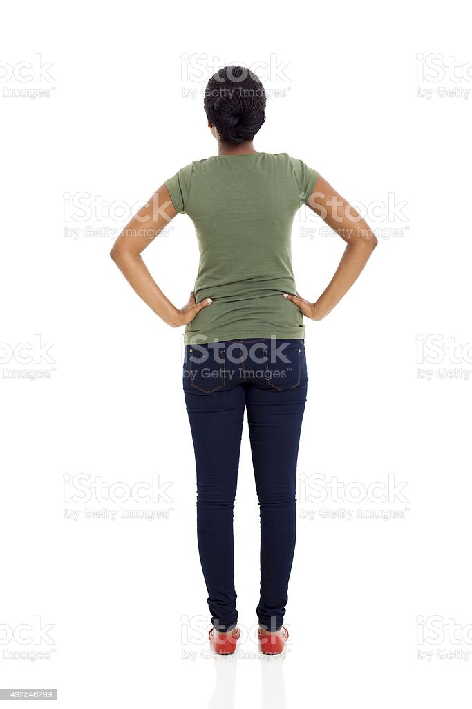rear view of young african american woman stock photo