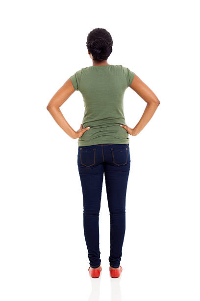 rear view of young african american woman - rear view stock photos and pictures