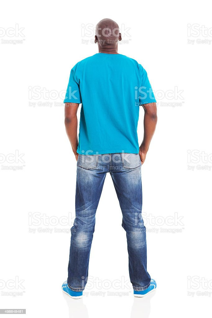 rear view of young african man stock photo