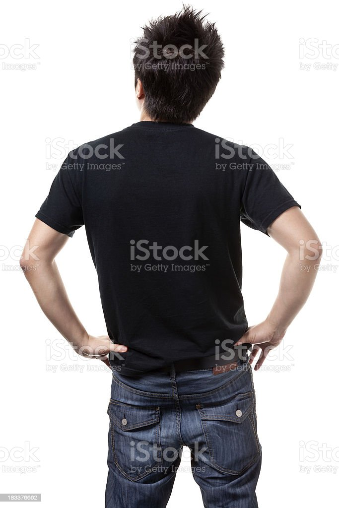 Rear View of Young Asian Man royalty-free stock photo
