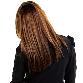 Rear view of a young businesswoman, isolated on a white background. http://s3.amazonaws.com/drbimages/m/peygin.jpg