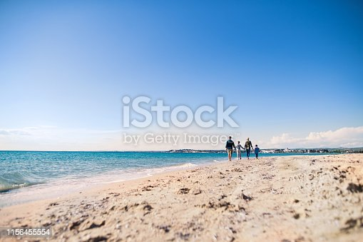 istock Rear view of young family with two small children walking outdoors on beach. 1156455554