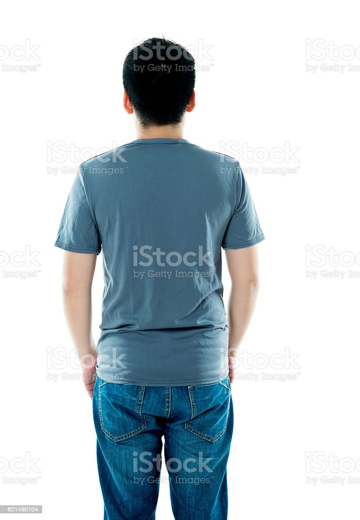 Rear view of young man in t-shirt photo libre de droits