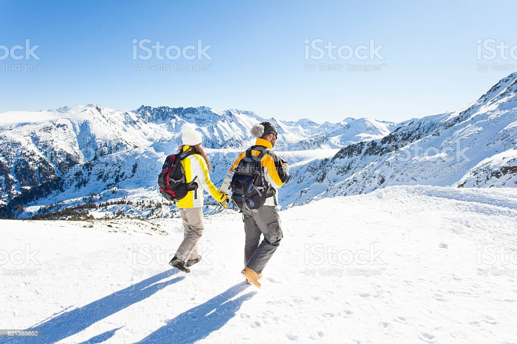 Rear view of young people holding hands on top mountain stock photo