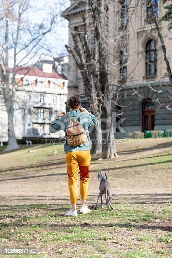 Rear view of young woman walking her Weimar puppy in the off-leash public park