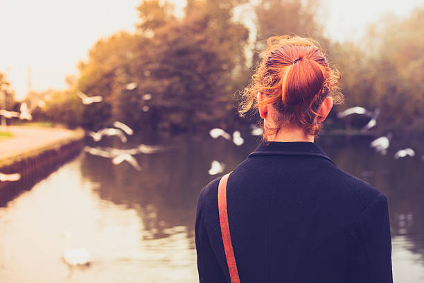 Rear view of young woman watching birds stock photo