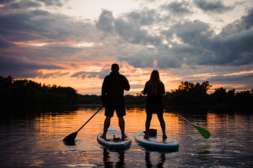 rear view on couple of people on sup boards on the river at sunset