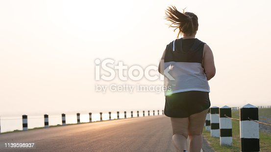 Rear view Overweight Asian women jogging in the street in the early morning sunlight. concept of losing weight with exercise. with copy space.