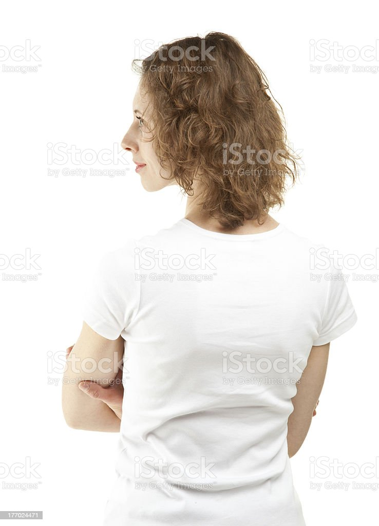Rear view portrait of young woman stock photo