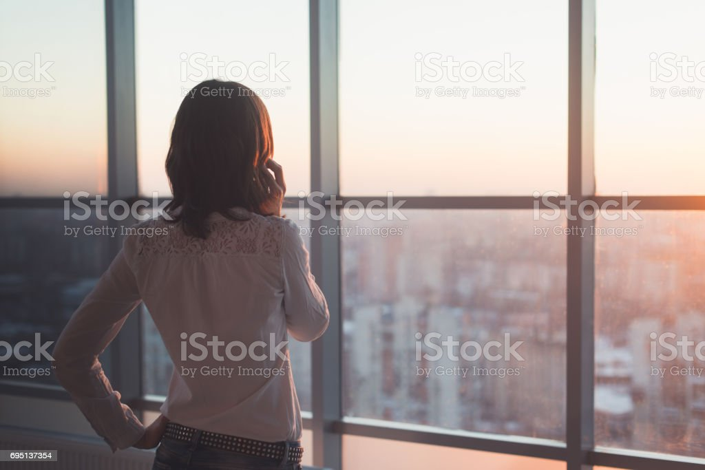 Rear view portrait of young worker speaking using cell phone, looking out the window. Female having business call, busy at her workplace in evening. stock photo