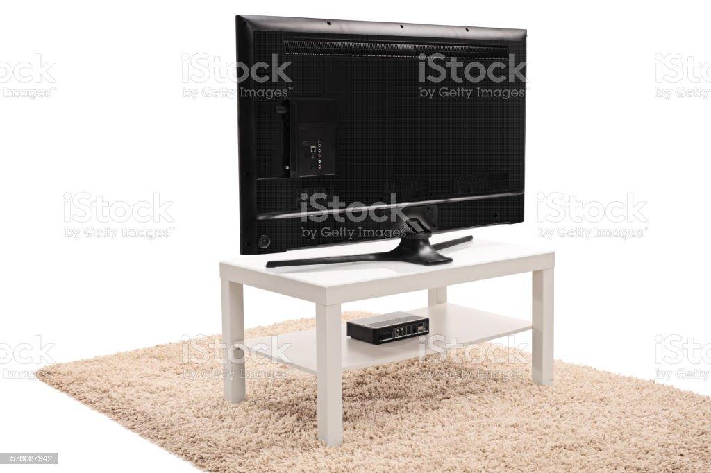 Rear view shot of a flat screen TV stock photo