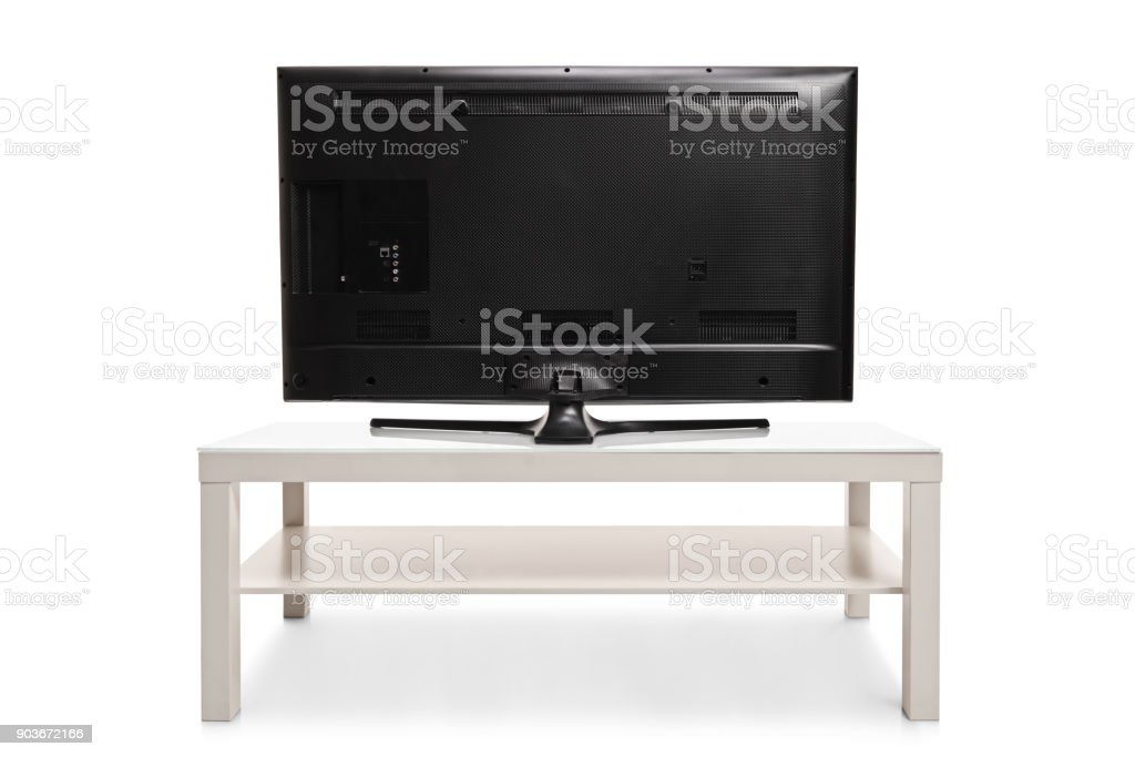 Rear view shot of a television stock photo
