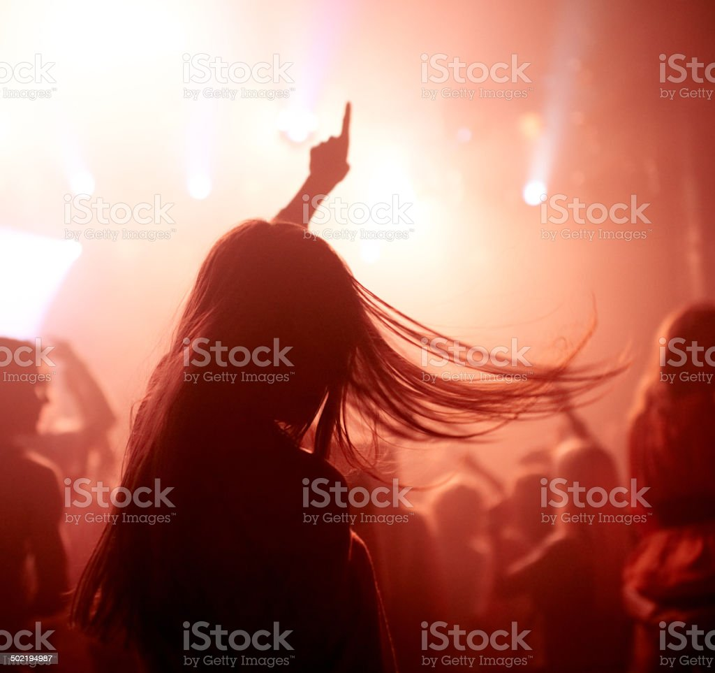 Rocking out with the fans stock photo
