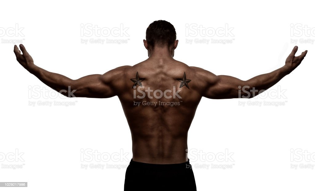 Rear view, silhouette of healthy young althlete stock photo