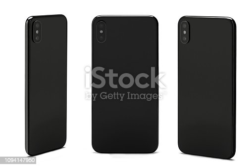 Rear View Smart Phones Isolated on White