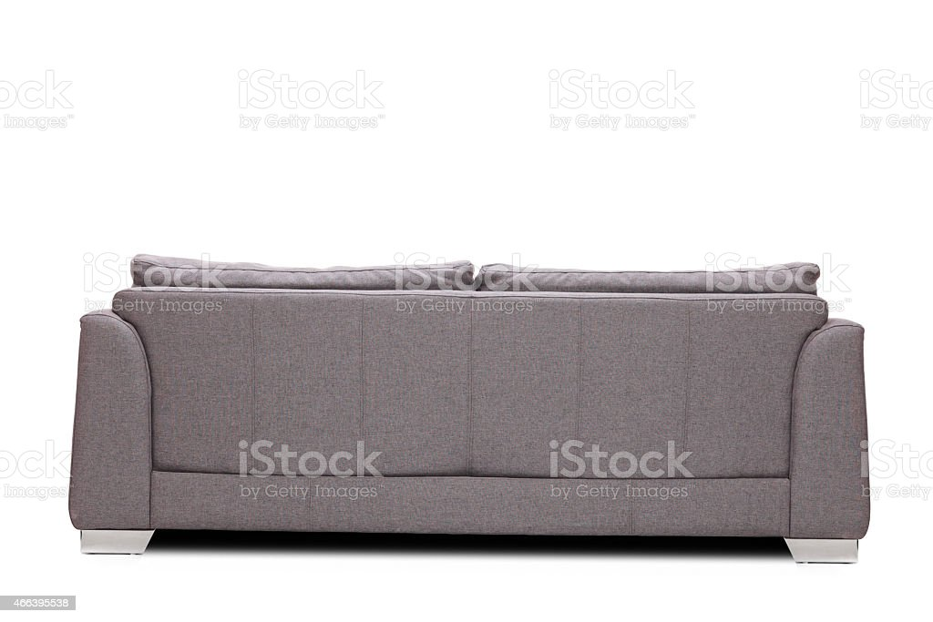 Rear view studio shot of a modern gray sofa