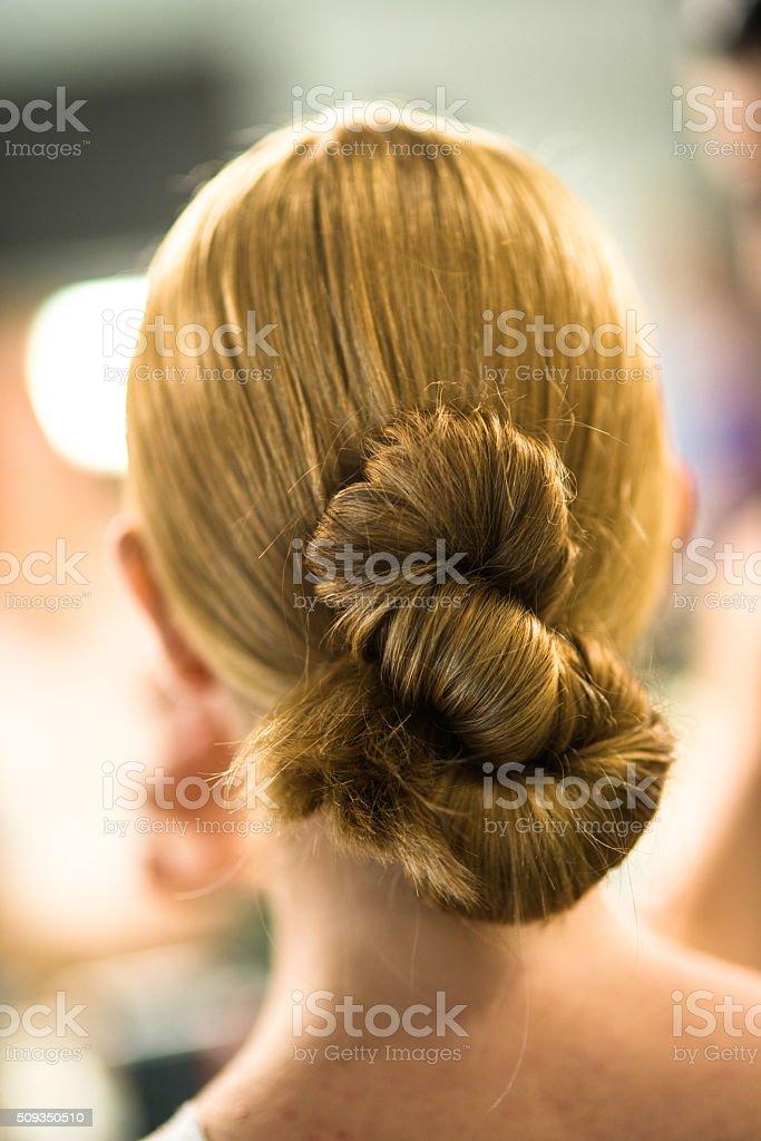 rear view woman hair stock photo