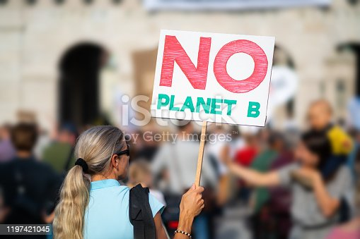 woman holding no planet b sign at protest march demonstration against climate change in european city, shallow focus, background blurred