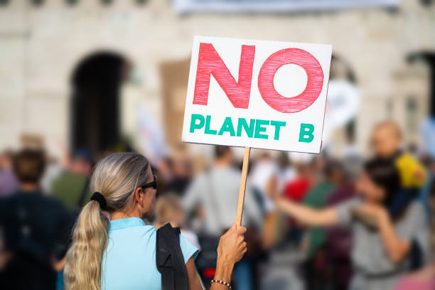 rear view woman with sign at climate change demonstration stock photo