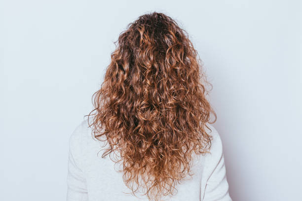 Rear view woman's head with beautiful long naturally curly hair stock photo