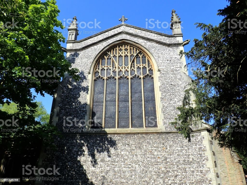 Rear window of St. Mary's Church, Rickmansworth, Hertfordshire stock photo