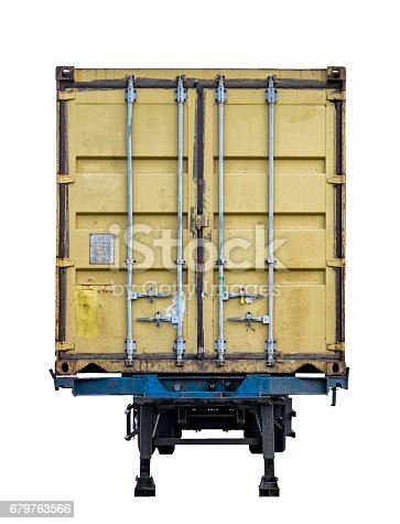 istock Rear yellow container box trailer parked 679763566