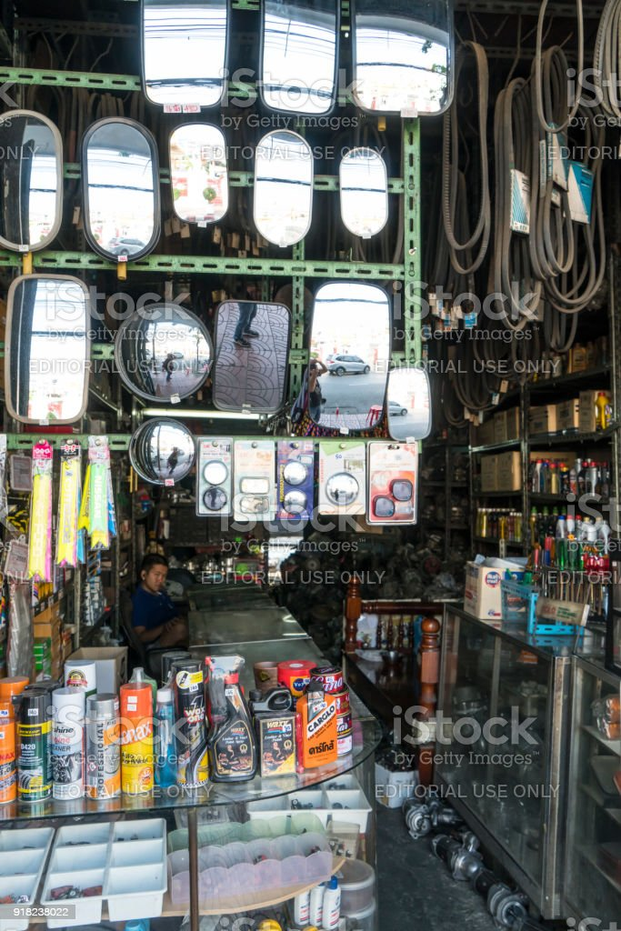 rearview mirrors in a shop in Bangkok, Thailand stock photo