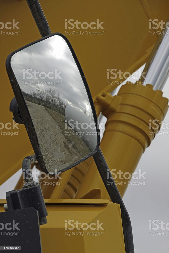 Rear-view mirrors on an excavator royalty-free stock photo