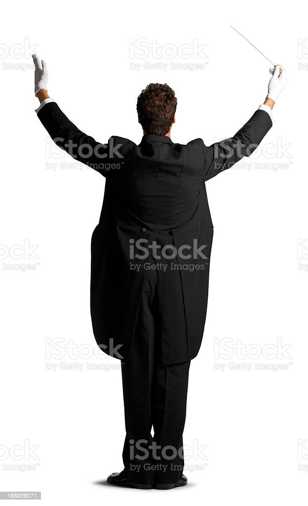 Rearview of music conductor isolated on white background stock photo