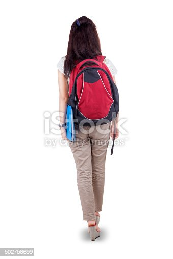 istock Rearview student walking on white background 502758699