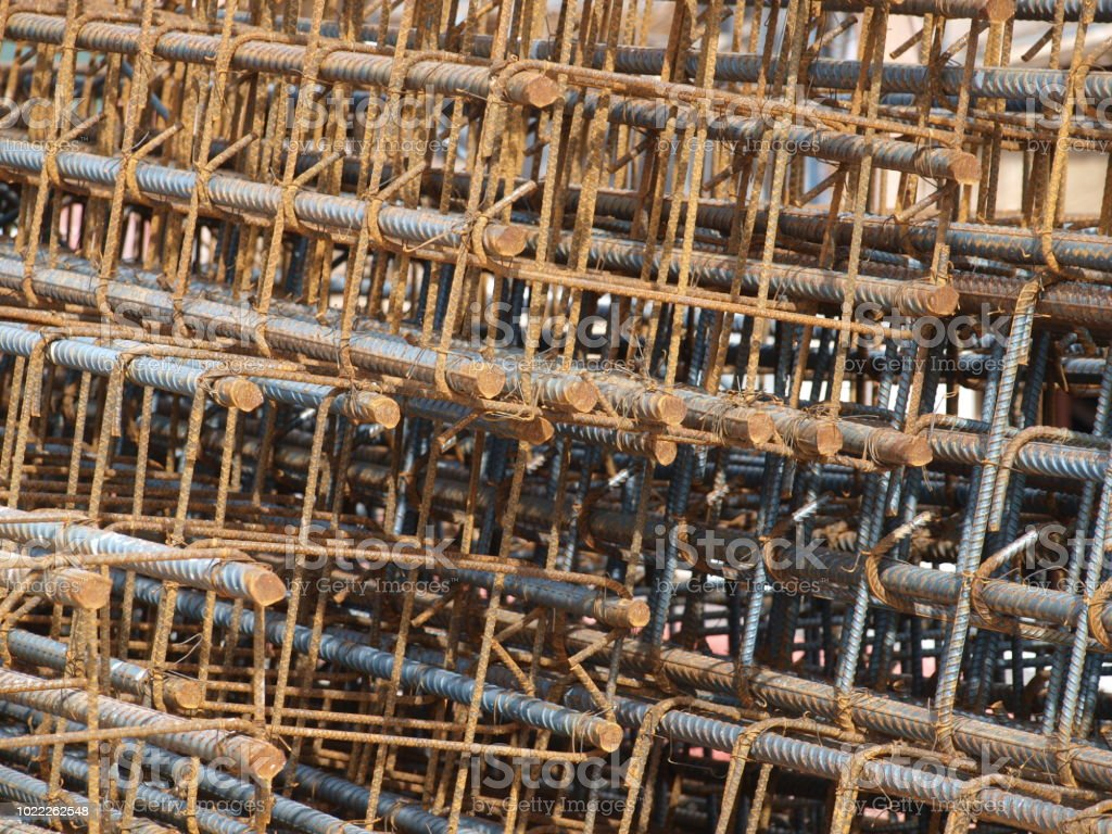Rebar Cages Tied and Ready for Concrete stock photo