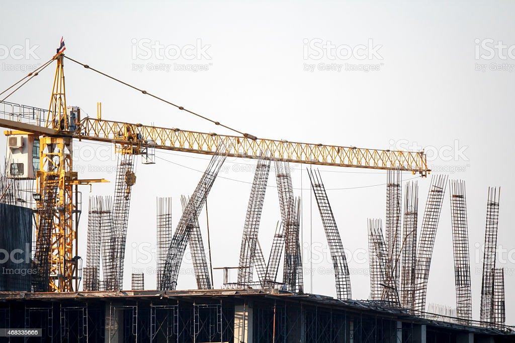 Rebar column in construction site stock photo