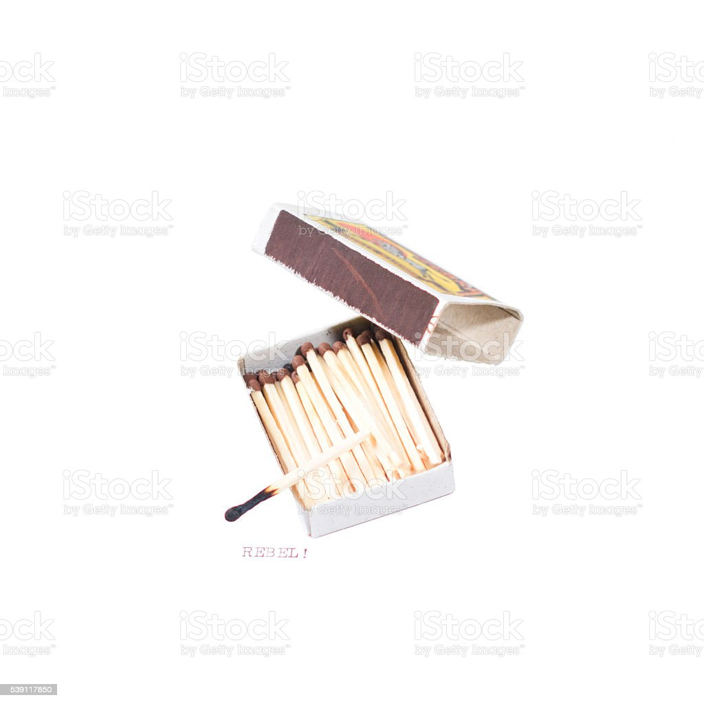 Rebel! Burned out! (Concept made with box of matches) stock photo