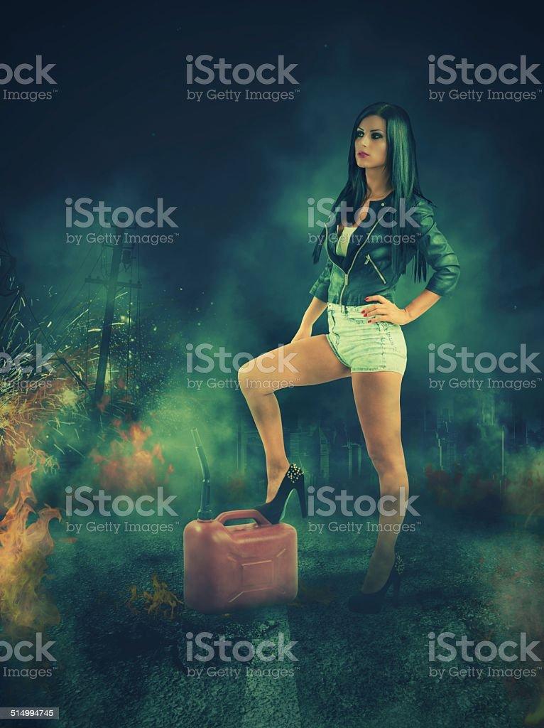 Rebel sexy girl stock photo