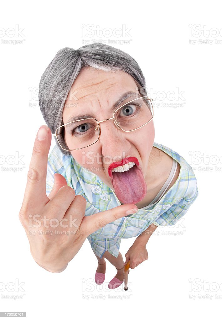 Rebellious Granny royalty-free stock photo