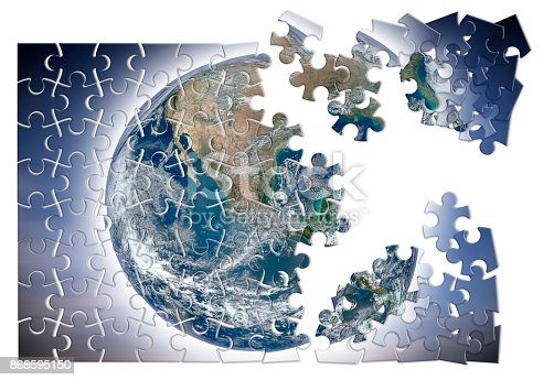 istock Rebuild the world - concept image with elements from Nasa in jigsaw puzzle shape 868595150